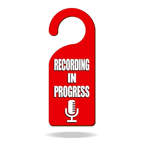 Recording in Progress Wooden Door Knob Hanger Sign for Meeting in Session, Office, Home, Clinic, Therapists, Hotel, Health Care 9'3.54' Decoration