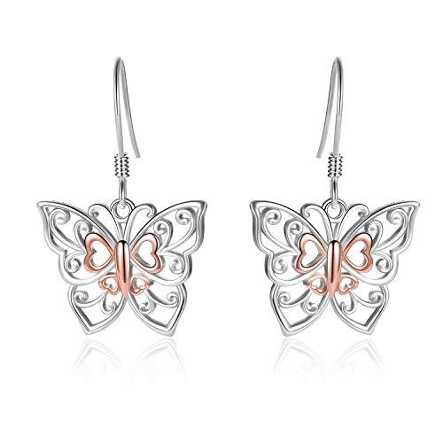LUHE Honeycomb with Bee Stud Earrings 925 Sterling Silver Beehive and Bee Earrings for Women (butterfly earrings)