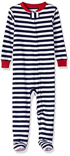 Amazon Essentials Toddler and Baby Zip-Front Footed Sleeper, Navy Stripe, 6-12M