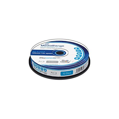MediaRange BD-R 25GB 6-Fache Schreibgeschwindigkeit, Vollflächig bedruckbar, 10er Cakebox
