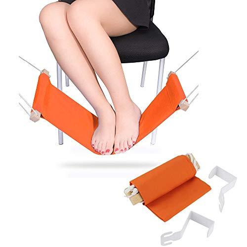 GU YONG TAO Hamaca de pie de Escritorio con Soporte - Mini Soporte de reposapiés de Oficina portátil Duradero con Abrazaderas Ajustables Instalación fácil para la mayoría de los escritorios, Naranja