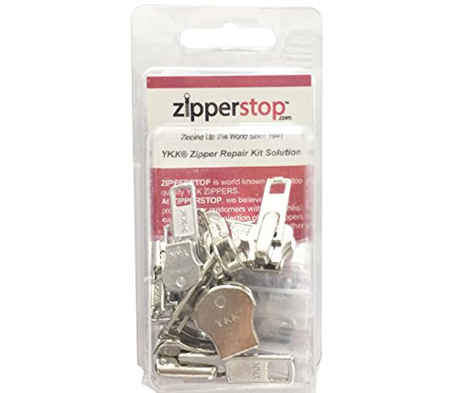 ZipperStop Wholesale - Zipper Repair Kit Solution 9 Sets YKK? Auto Lock Sliders Assorted 3 of #3, 2 of #5, 2 of #7 and 2 of #10 Included Top & Bottom Stops Made in USA (YKK Aluminum Auto Lock Sliders)