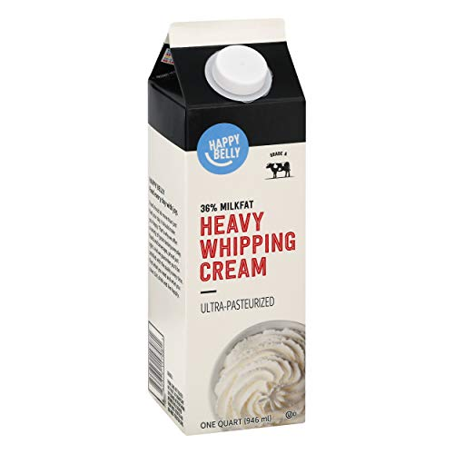 Amazon Brand - Happy Belly Heavy Whipping Cream, Ultra-Pasteurized, Kosher, Quart, 32 Fl Oz
