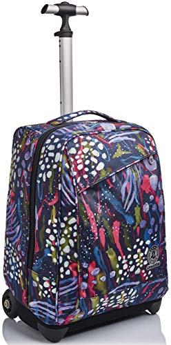 Trolley Invicta , Abstract Jungle, Blu, 2 in 1 con Spallacci per uso Zaino