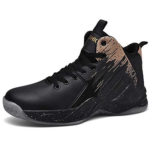 CXQWAN Les Formateurs Non-Slip Homme, Chaussures de Basket-Ball Haute Performance Choc Chaussures de Course pour intérieur et extérieur en Plastique Cour Venues ou marchepieds,Noir,40