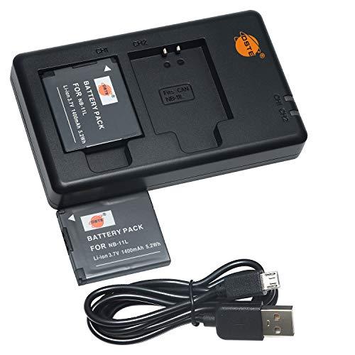 DSTE 2PCS NB-11L NB-11LH(1400mAh/3.7V) Batterie Ladegerät Compatible für Canon PowerShot A2300,A2400,A2500,A2600,A3400,A3500,A4000 is,ELPH 110, 115,130,320,340 HS,IXUS 265,132D,140,155,150,145 Kamera