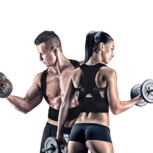 Fully Adjustable Magnetic Orthopedic Back Brace Posture Corrector For Men Women w Lumbar Support Belt - Shoulder, Neck, Upper Lower Back Pain Relief-Best Straightener Trainer Improves Upright Stance M