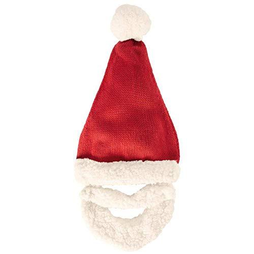 DOUP Unisex Adults Santa Hat Xmas, Adults Big Thickened Christmas Knitting Hat, Beard Christmas Hat Detachable, Plush Fabric, Red and White, 4 PCS