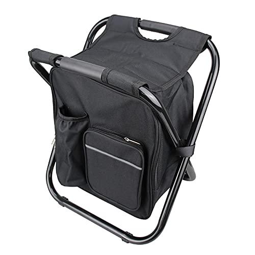 Silla plegable multifuncional, soporte 220 libras con bolsa de almacenamiento Soporte de tubo de acero inoxidable, resistente, portátil, para acampar y viajar, asiento al aire libre