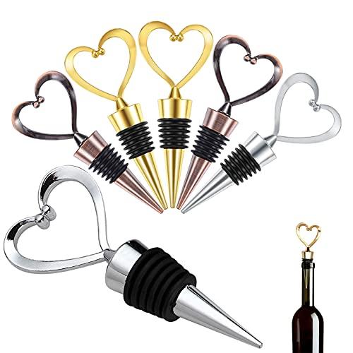 GZjiyu, 6 tappi per bottiglie di vino, in lega di zinco, a forma di cuore, per la collezione di vino, champagne, birra, regalo (argento oro bronzo)