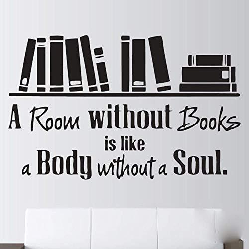 Calcomanías de vinilo para decoración de habitación sin libros con cita de lectura, decoración de pared, sala de lectura, biblioteca, 136 x 84 cm