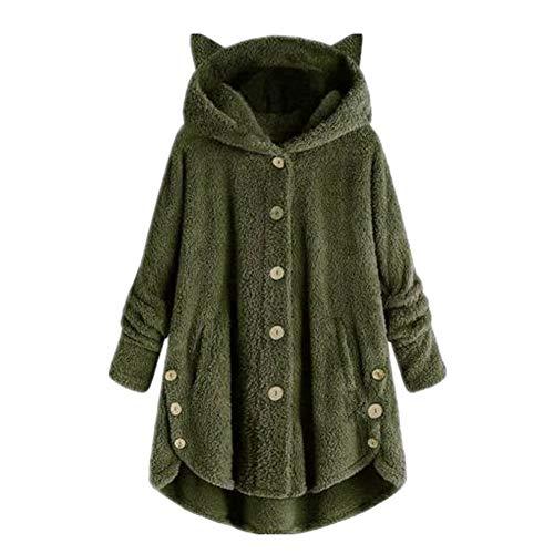 Lindas mujeres invierno lindo gato orejas con capucha dobladillo irregular botones chaqueta
