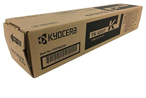 Kyocera 1T02R50US0 Model TK-5207K Black Toner Cartridge For use with Kyocera TASKalfa 356ci and CS-356ci A4 Color Multifunctional Printers, Up to 18000 Pages Yield at 5% Average Coverage