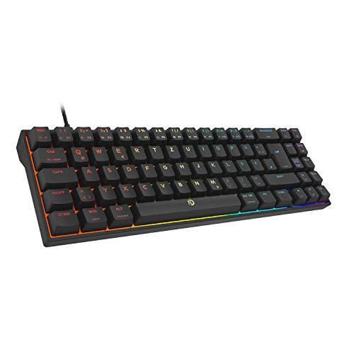 DREVO Calibur V2 TE RGB 60% teclado mecánico para juegos con cable, 72 teclas pequeño compacto, compatible con PC/Mac, USB desmontable tipo C, DE Layout Outemu Blue Switch