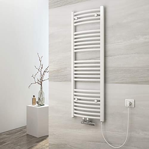 EMKE Handtuchtrockner Heizkörper, 120x40 cm Handtuchheizkörper für Wasser und Strom mit Kabel und Stecker(Weiß)