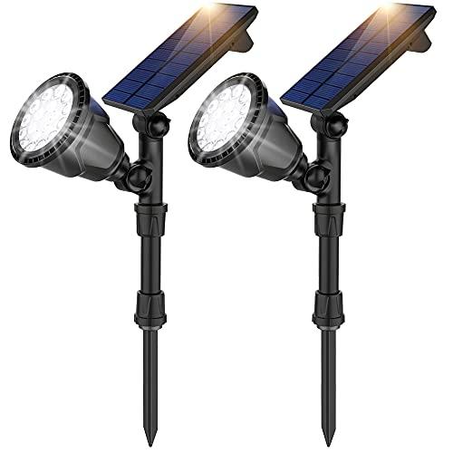 JSOT Außenlampe mit Bewegungsmelder,IP65 Wasserdichte Solarleuchte Gartenleuchte Leuchten 2-in-1 Landschaftsbeleuchtung 18 LED Solarstrahler Lampen für Bäume Sträucher Wege Rasen(2 Stück)