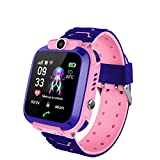 Smart Kids Montre Téléphone pour Filles Garçons avec 2 Way caméra d'appel Puzzle Game Alarm Clock SOS Tracker Vice Tchat Lampe de Poche GPS Smartwatch 1.44inch Tactile Montres écran Enfants (Pink)