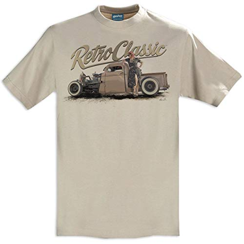 RetroClassic Ruby Woo 1946 Ratrod Chevy Truck - playera para hombre, Beige, Medium