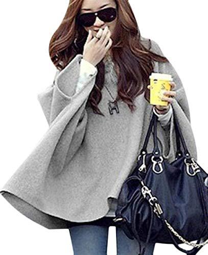Damen Umhang Mit Fellkapuze Mantel Fledermausärmel Classic Irregular Lässige Locker Warm Cape Poncho Jacke Herbst Winter Kleidung (Color : Hellgrau, Size : S)