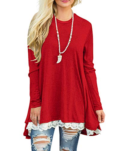 Sanifer Women Lace Long Sleeve Tunic Top Blouse (Large, Bright Red)