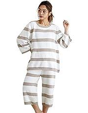 [Luanna Jena] ルームウェア レディース パジャマ 七分丈パンツ 2点セット QW602