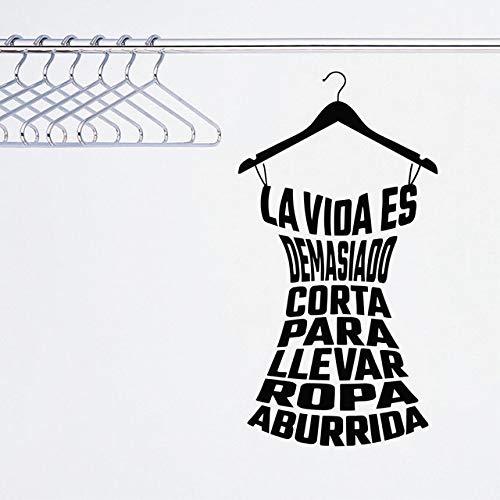 mgrlhm Calcomanías de Pared Arte de Moda Cartel de Vinilo Ropa española Pegatinas de Pared señoras vestidor Tienda calcomanías de Armario 42X80cm