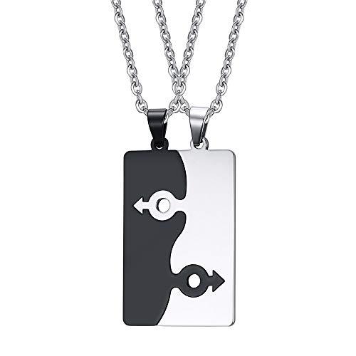 ZFAYFMA Lgbt - Collar de regalo para homosexuales, collar con colgante de regalo para lesbianas y homosexuales de acero inoxidable, blanco