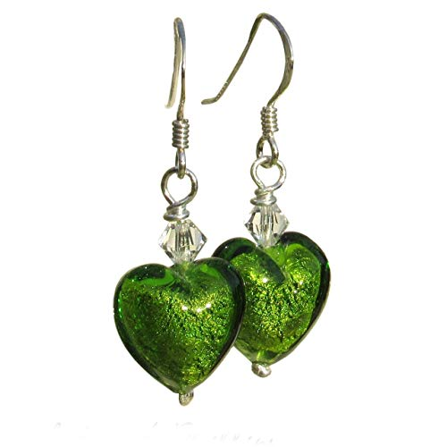 Handmade for Women Green MURANO Glass Heart, Crystal Bead 925 Sterling Silver Drops Earrings - Gift Bag