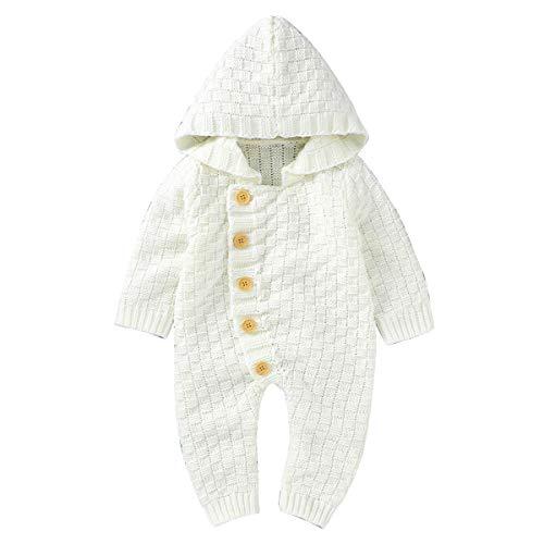 puseky Infant Baby Boys Girls Knitted Hoodie Romper Jumpsuit Hooded Onesies Bodysuit Outfits