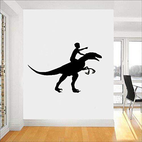 jiushivr Dinosaur Rider Vinyl Aufkleber Zeitraum Wandaufkleber Kinderzimmer Innenwand Graphics Schlafzimmer Kinder Kinderzimmer Wandkunst 63x93cm