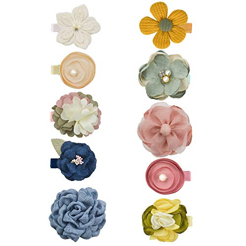 Baby Girls Flower Bow Hair Clips Floral Barrettes Hair Accessories for Infants Toddlers Teens 10PCS by JIAHANG(YF flower)
