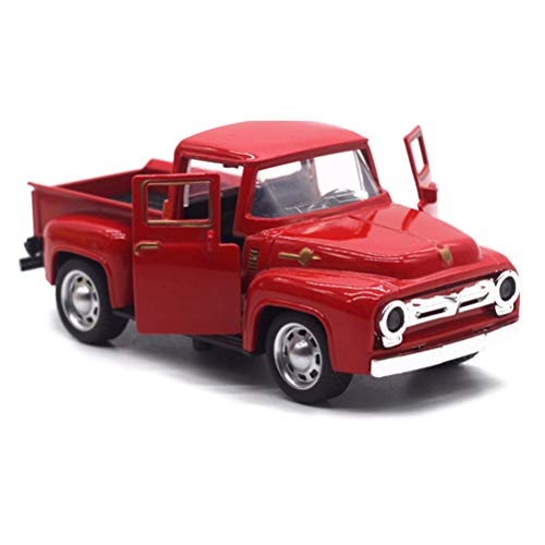 GMWD Christmas Red Truck, Vintage Metal Truck Car Model Cool Durable Metal Holiday Truck Table Top Ornament for Christmas Decoration