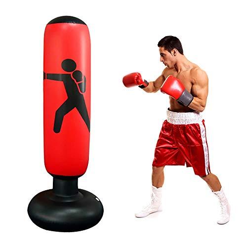 Boxsack Gefüllt 160cm Standboxsäcke Aufblasbar Boxsäule Tumbler Boxing Trainer Trainingsgeräte Freistehender Boxpartner Fitness Taekwondo Karate Kinder Erwachsene