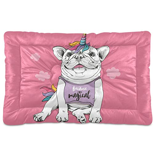 CHIFIGNO French Bulldog Unicorn Wig Pet Bed Mat Soft Crate Mat with Anti-Slip Bottom Machine Washable Pet Mattress for Dog Sleeping 36 in x 24 in