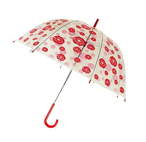 HAAC Transparenter Regenschirm Automatik roten Küssen 85 cm