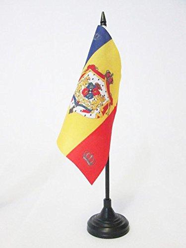 AZ FLAG TISCHFLAGGE KÖNIGLICHE STANDARTE VON RUMÄNIEN 1881-1946 15x15cm - RUMÄNISCHE TISCHFAHNE 15 x 15 cm - flaggen
