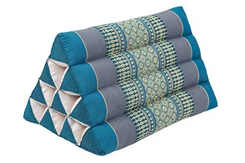 Handelsturm Cojín tailandés pequeño con forma de triángulo, 33 x 20 cm, cojín con relleno de kapok triangular, cojín decorativo o apoyo, color azul claro