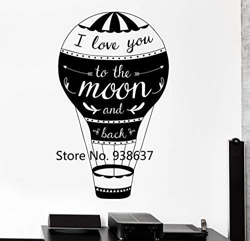 guijiumai Liebe Zitate Wandtattoo Ich Liebe Dich zum Mond und zurück Home Interior Wandaufkleber Wohnzimmer Luftballon Stil Decals 75X126CM
