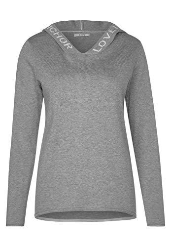 CECIL Damen Sporty Hoody Pullover Kapuzenpullover, Grau (Mineral Grey Melange), Large