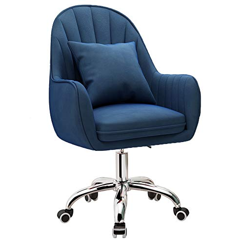 ZWQASP Ergonomic Desk Chairs Office Chair, Adjustable Height Home Middle Back Computer Chair 360 ° Swivel Chair with Arms and Wheels, for Living Room Bedroom Study (Color : Blue)