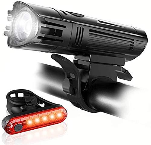 ZOUSHUAIDEDIAN Bicicleta luz Delantera y Trasera Luces, USB Recargable Linterna de la Bicicleta y la luz Trasera Conjunto, Super Brillante LED, a Prueba de Agua, 4 Modo Luz Opciones Se Adapta a Todas