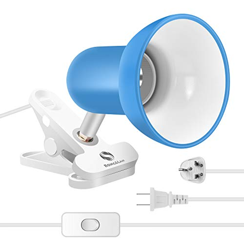 Clip on lamp,360 ° Rotating Clip Book Light Portable Reading lamp, Clip in The Desk/Table/Double Bed/Cabinet Lighting (Desk lamp,Seven Colors for Your Choice) (Blue)