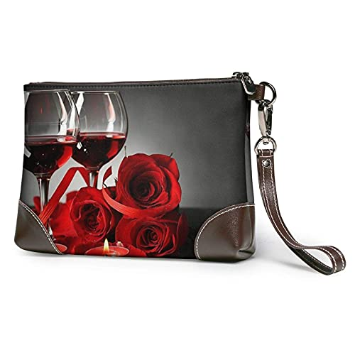 Yaxinduobao Bolso de mano con estampado de vela y copa de vino rosa roja, bolso de mano de cuero desmontable, bolso de mano para mujer