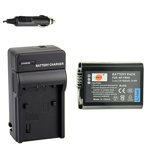 DSTE Replacement for NP-FW50 Battery + DC107 Travel and Car Charger Adapter Compatible Sony Alpha 7 7R 7R II a7S a7R II a5000 a6100 a6300 a6400 a6500 NEX-7 DSC-RX10 II III ILCE-7R 7S QX1 5100 Camera -  DA18B1