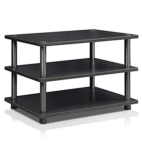 FURINNO TurnNTube Easy Assembly 3Tier Corner TV Stand Blackwood/Black