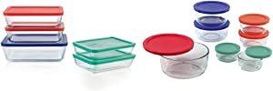 Pyrex Simply Store Meal Prep Glass Food Storage Containers (10-Piece Set, BPA Free Lids, Oven Safe) & Simply Store Meal Prep Glass Food Storage Containers (14-Piece Set, BPA Free Lids, Oven Safe)