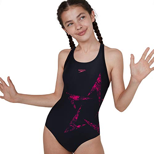 Speedo Mädchen Boomstar Placement Flyback Badeanzug, Schwarz/Electric Pink, 140