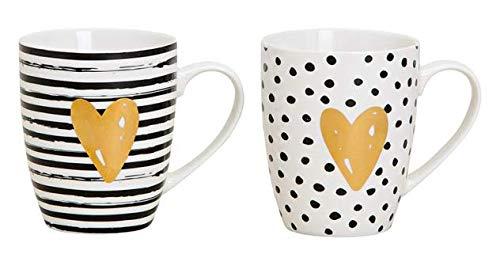 Merz-Design 2 wunderschöne Premium Becher Tassen aus Porzellan- 360ml - 11cm - schwarz weiß Gold - Kaffeebecher im Set mit Henkel und modernem Muster mit Herz - Trinkbecher Trinktasse