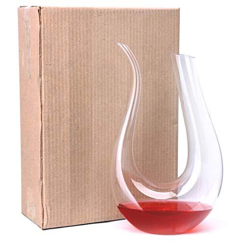 Ashley GAO Decantador de vino de cuerno en forma de U de vidrio transparente Recipiente vertedor de vino tinto