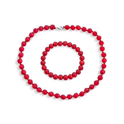 Comprimé Bleu Main tendu Rouge Turquoise 8MM Collier Perles Bijoux Bracelet pour Les Femmes